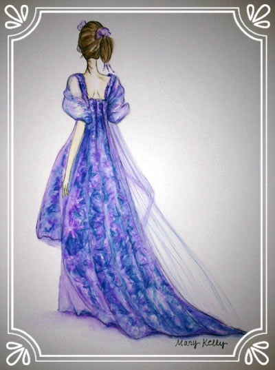 purple gown with train, mary kelly designs © 2018