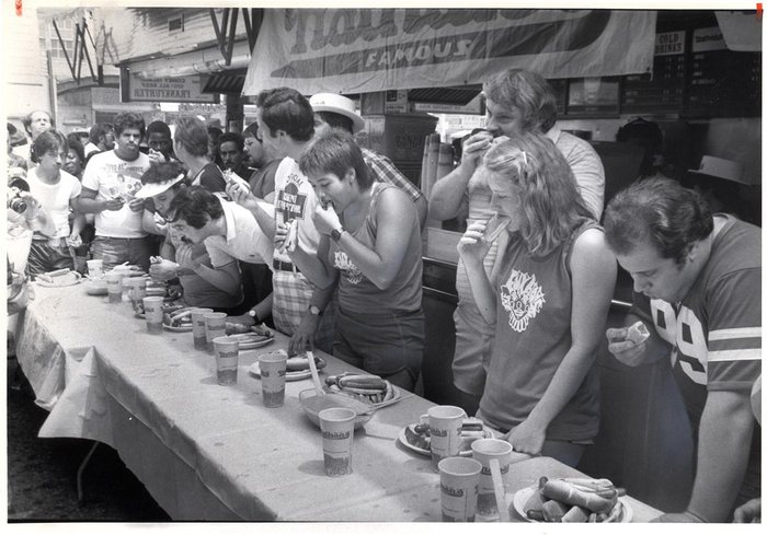 The first official Nathan's Famous hot dog eating competition                                                         Photograph courtesy of Nathan's Famous