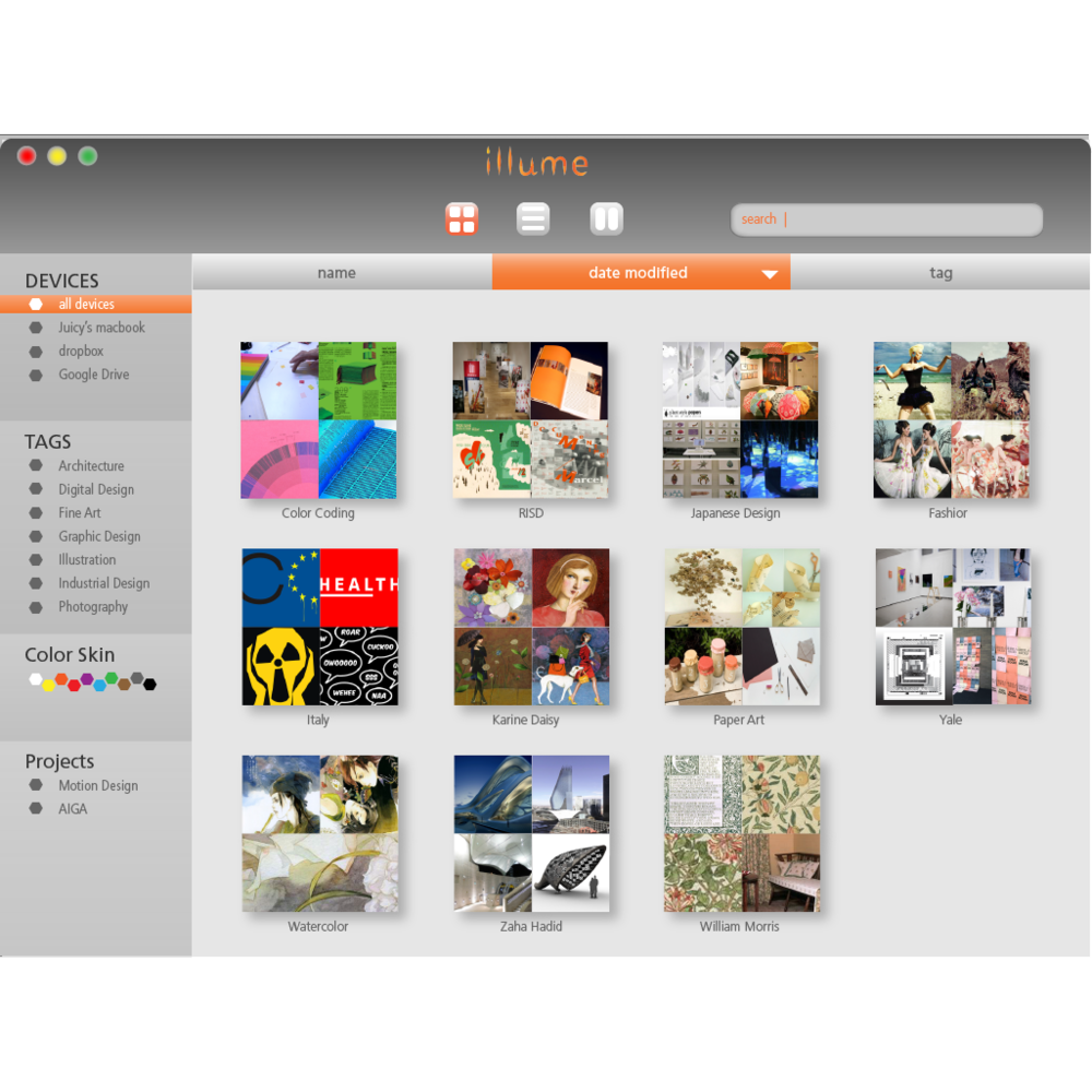 ILLUME organize inspiration images for designers