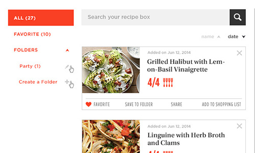 Epicurious Login, Profile, Recipe Box User Flow