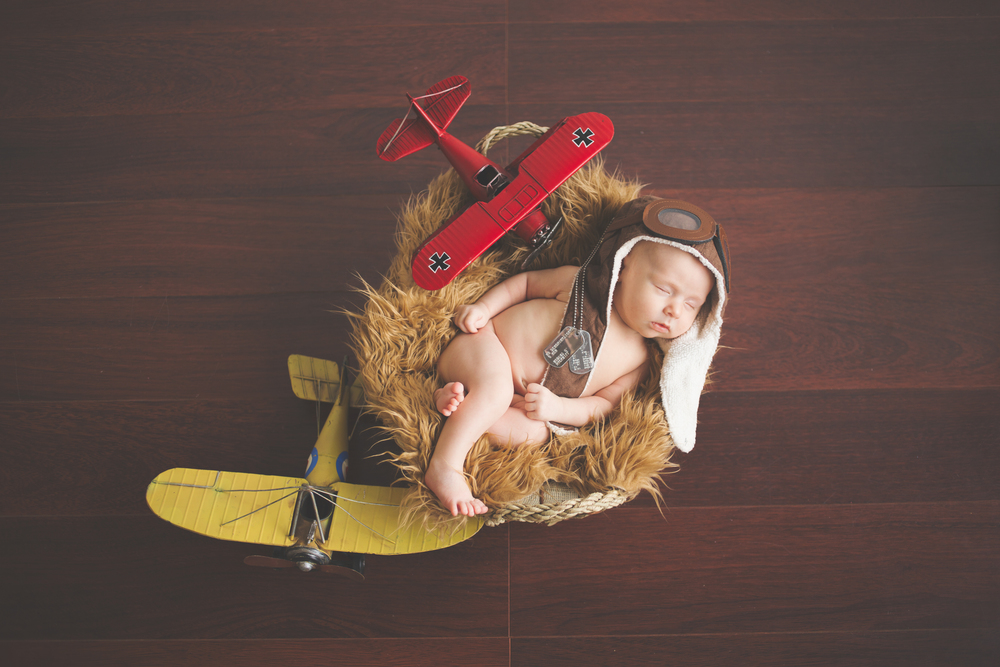 baby in basket, airplanes, air force, newborn, indianapolis