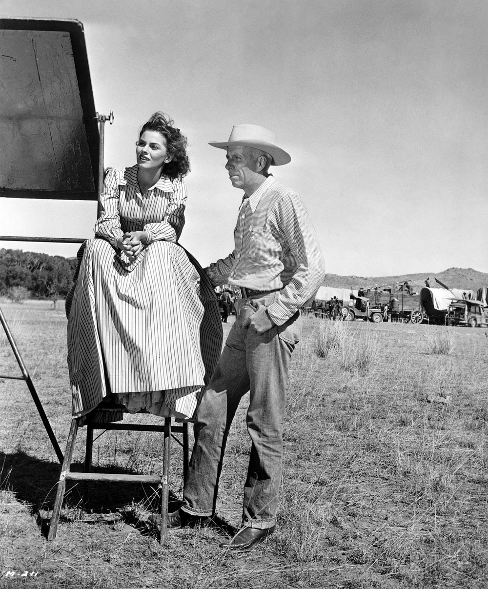 Joanne Dru and Director Howard Hawks on the set of  Red River