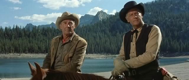 Randolph Scott as Gil Westrum (on the left) and Joel McCrea as Steve Judd