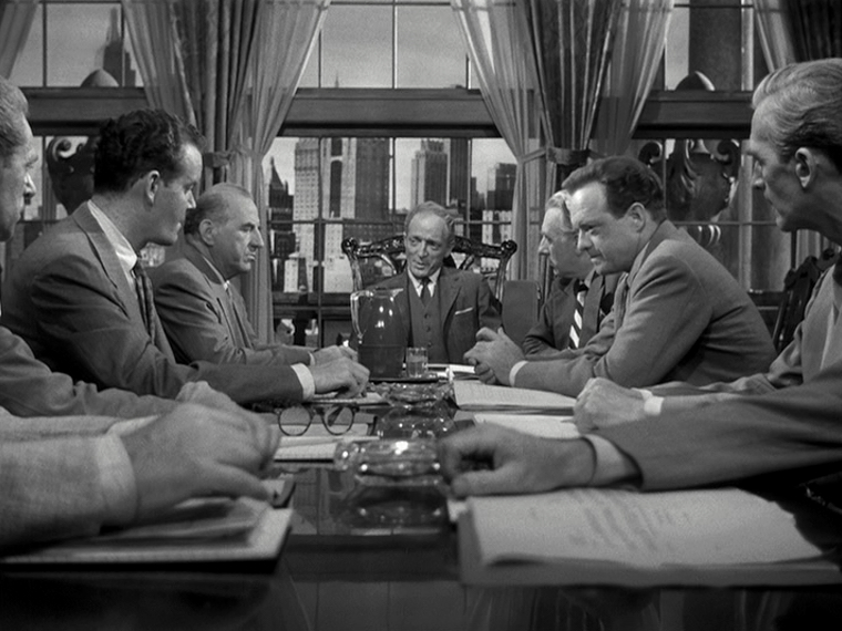 Ed Begley (Far left), Everett Sloane (Center), Van Heflin (Center on the right)