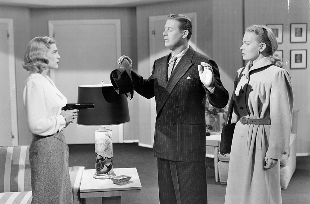 (From left) Lizabeth Scott, Don DeFore, Kristine Miller