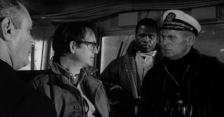 (From left) Martin Balsam, Wally Cox, Sidney Poitier, Richard Widmark