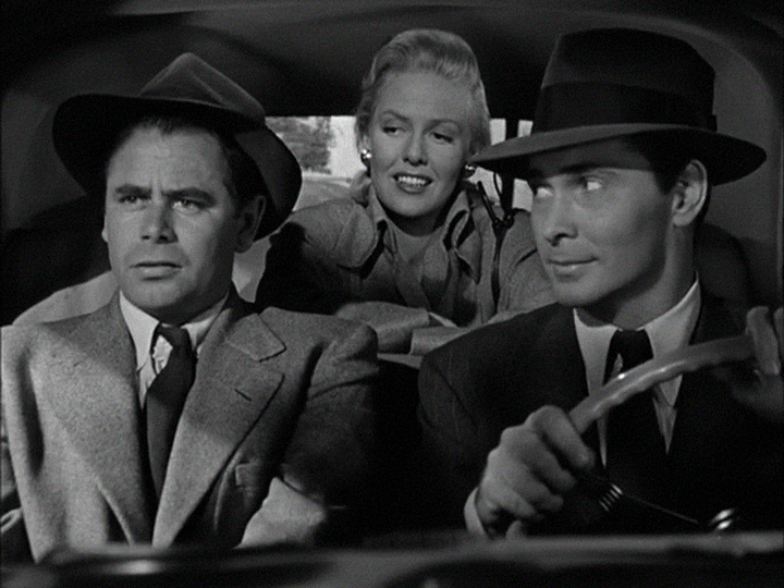 (From left) Glenn Ford, Janis Carter, Barry Sullivan
