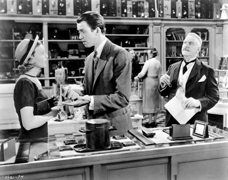 (From left) Margaret Sullavan, James Stewart, Frank Morgan
