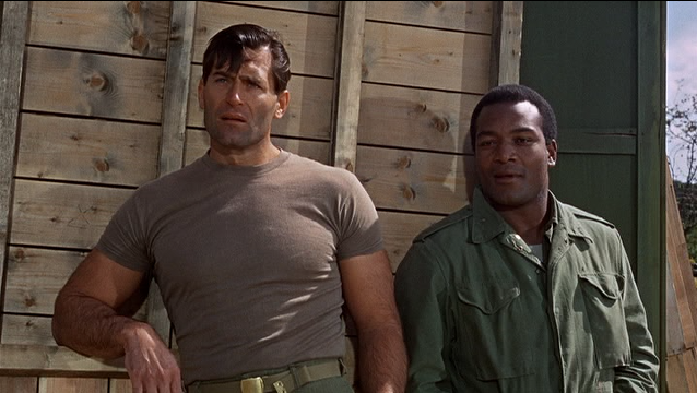 Clint Walker as Samson Posey (at left) with Jim Brown as Robert Jefferson in  The Dirty Dozen
