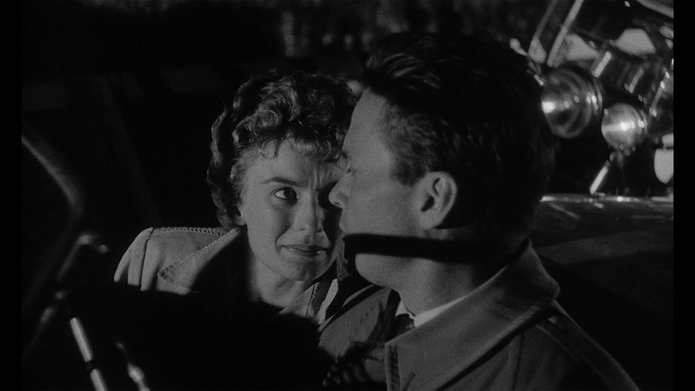Cloris Leachman as Christina Bailey with Ralph Meeker as Mike Hammer in  Kiss Me Deadly