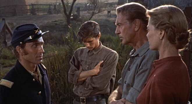 Peter Mark Richman as Gard Jordan (at far left) with Anthony Perkins as Josh Birdwell (centre), Gary Cooper as Jess Birdwell and Dorothy McGuire as Eliza Birdwell in  Friendly Persuasion