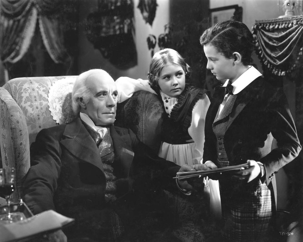 Marilyn Knowlden as Agnes (centre) with Lewis Stone as Mr. Wickfield (at left) and Freddie Bartholomew as David in  David Copperfield