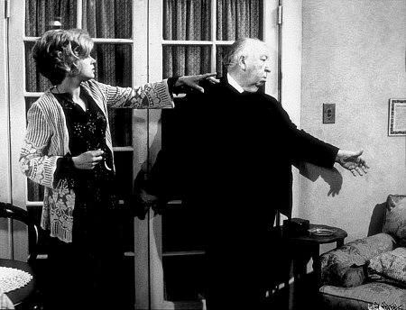 Barbara Harris and Alfred Hitchcock on the set of FAMILY PLOT