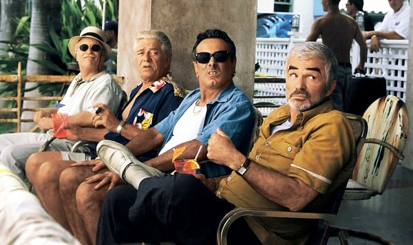 Richard Dreyfuss, Seymour Cassel, Dan Hedaya, and Burt Reynolds in THE CREW