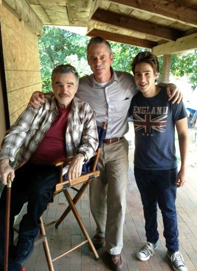 On the Set of CATEGORY 5 in Biloxi, Mississippi: Burt Reynolds, C. Thomas Howell and Nicholas Duncan