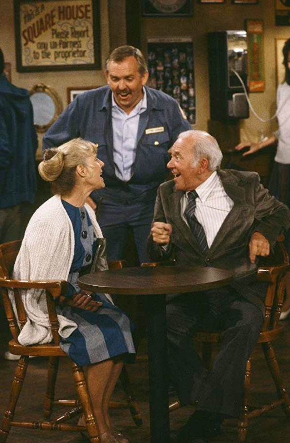 "Frances Sternhagen , John Ratzenberger, and Richard Erdman in ""Cheers"" (1986)"