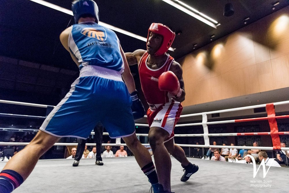 Nick Guesnon (Sydney Uni Boxing Club) vs Ryland Ford (Fist Slingers Boxing Club)  Credit: Warren S Photography
