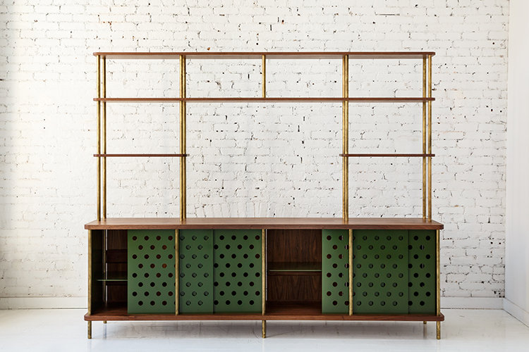 STORAGE CABINET WITH GREEN PERFORATED METAL