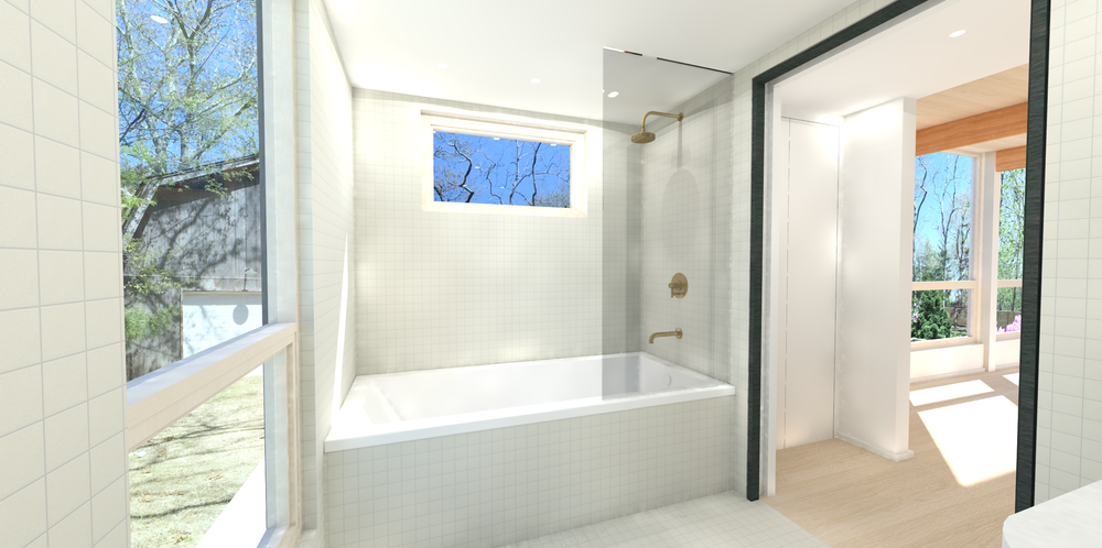 VIEW OF BATHTUB WITH HEATH CERAMICS 2X2 DEW TILE