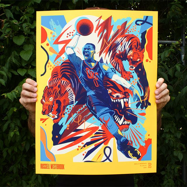 "Killer #russellwestbrook print we ran back in June for the @theplayerlist series. These are still available for purchase at www.theplayerlist.com along with the rest of the series.  Designed and illustrated by the amazing @msmollym  18 x 24"" 6C print on 100# cover Lemon Drop @frenchpaperco  #okcbasketball #thunderup #silkscreenprint #serigraphy #thedesigntip #silkscreen #frenchpaper #gpsilkscreamers"