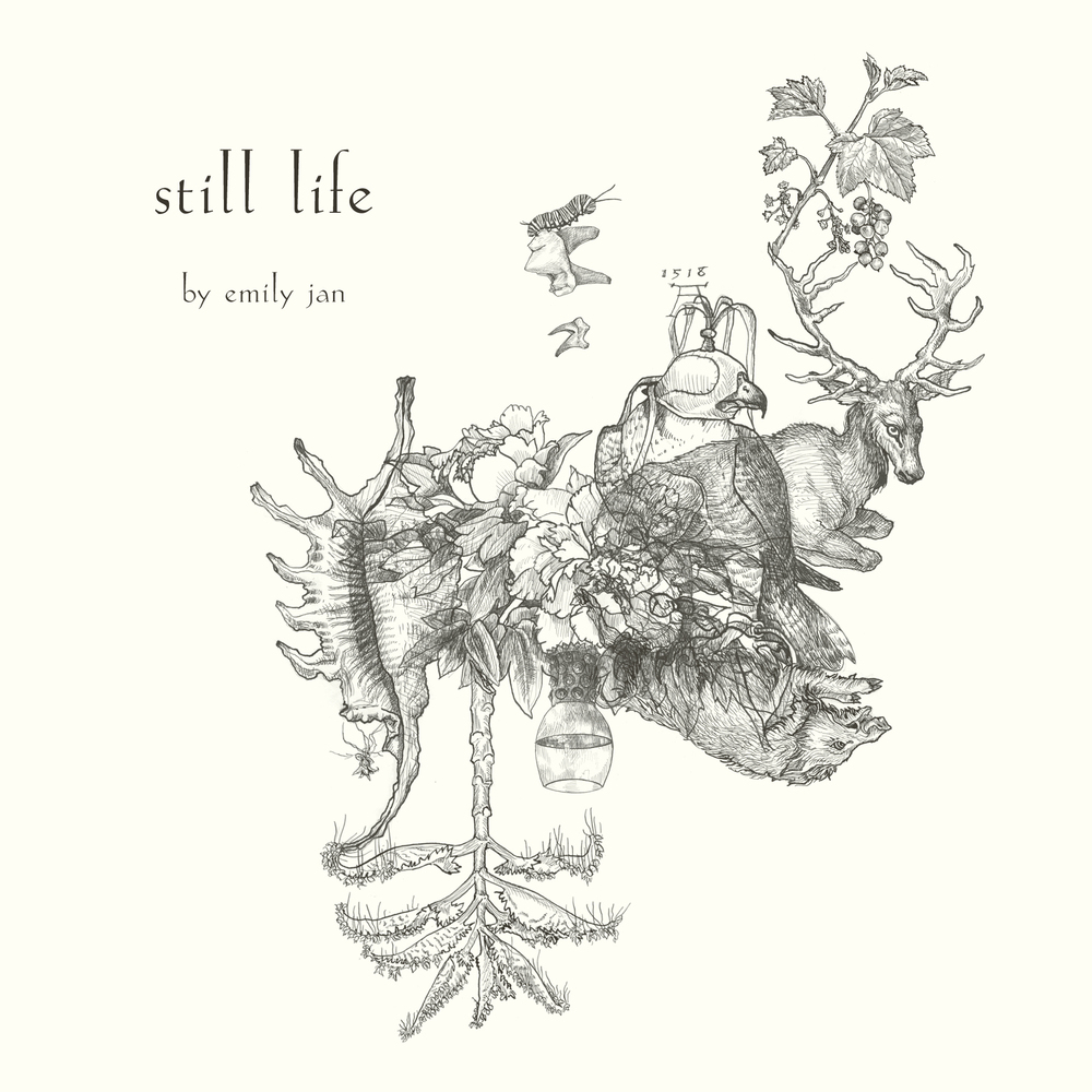 still life,  written and illustrated by emily jan. printed in may, 2014, montréal, qc, in a first edition of 25, and in march, 2015, montréal, qc, in a second edition of 50.