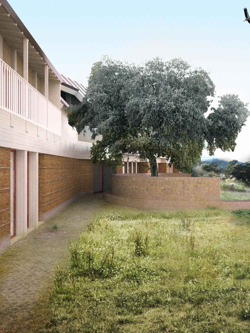Durch seine Höhe blickt das Haus sowohl in das Tal als auch in den Hang. Der darüber liegende schräg aufgesetzte Hut lässt Sonne sowie Regen abperlen.