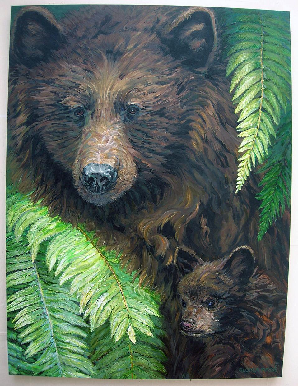 Mother Bear And Cub 2010 Acrylic 36x48