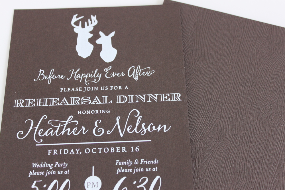 Rehearsal Dinner Invitations on Wood Grain Paper