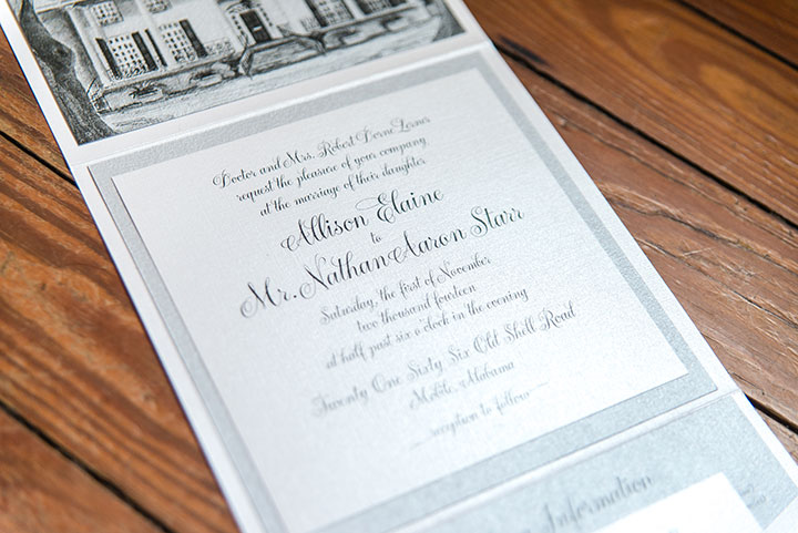 Custom Invitations for a Southern Mansion Wedding