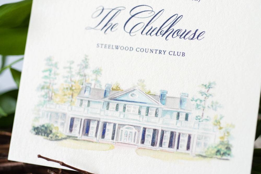 The image of the country club is printed digitally, with the text in letterpress. Photo Cred: Laura Graham.
