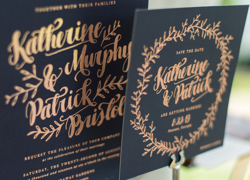Gold foil stamping on black background. Photo Cred: Laura Graham.