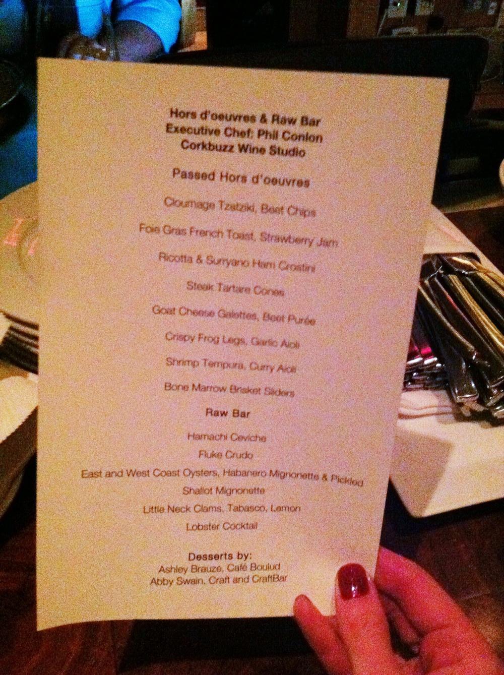 After-party food menu, photo by Shana Sokol, Shana Speaks Wine