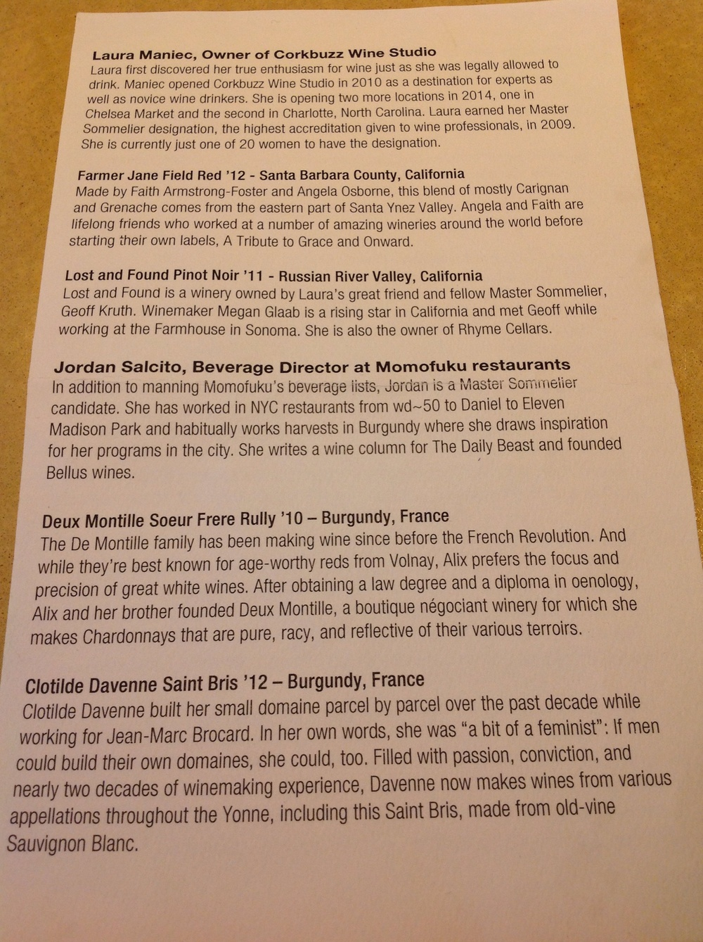 Wine menu page 1, photo by Shana Sokol, Shana Speaks Wine