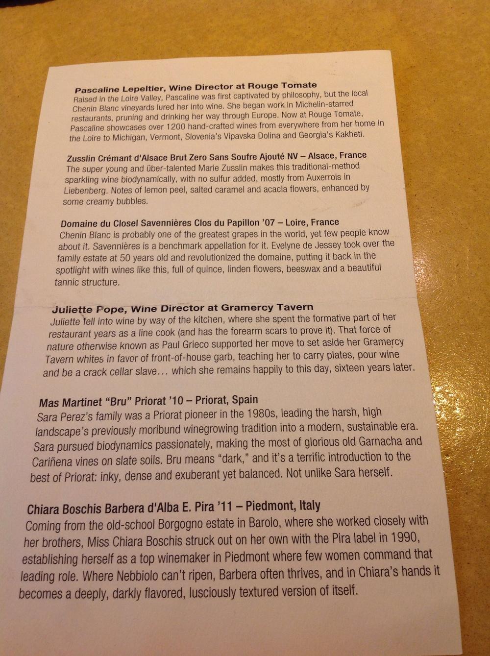 Wine menu page 2, photo by Shana Sokol, Shana Speaks Wine