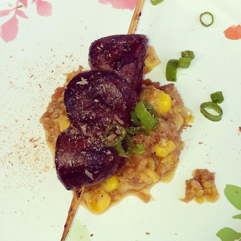 Grilled duck hearts, Photo by Shana Sokol, Shana Speaks Wine.