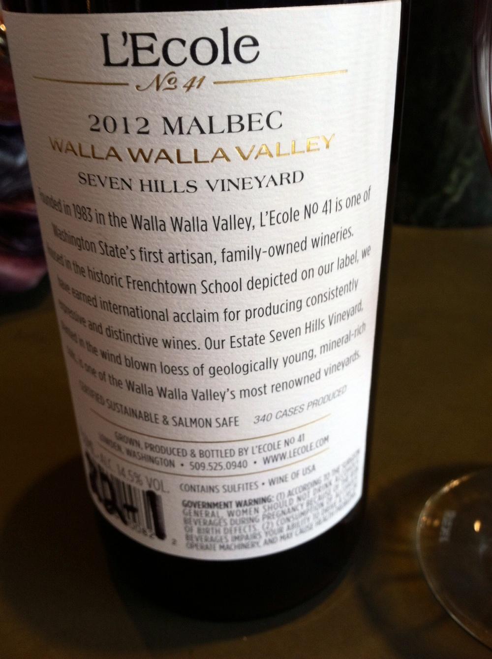L'ecole 41 Malbec. Photo by Shana Sokol, Shana Speaks Wine.