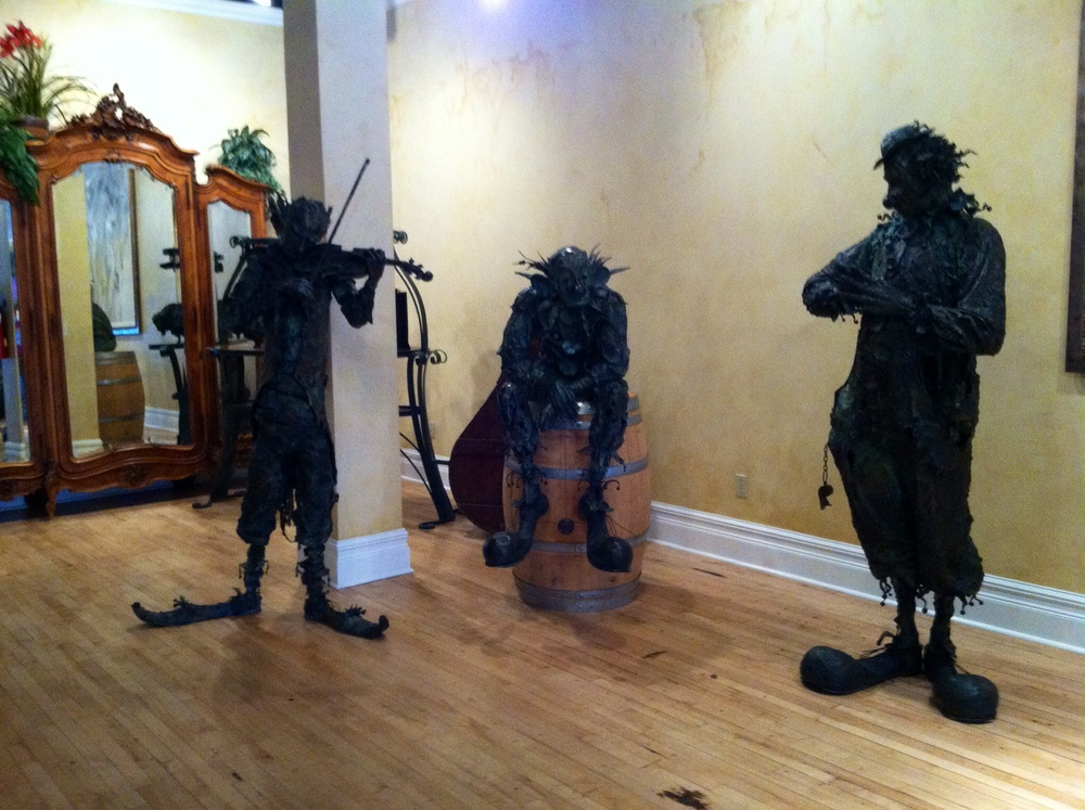 Scary clown statues.  Photo by Shana Sokol, Shana Speaks Wine.