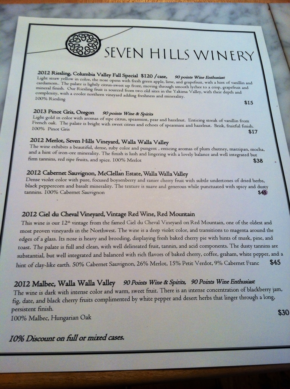 The Seven HIlls tasting lineup. Photo by Shana Sokol, Shana Speaks Wine.