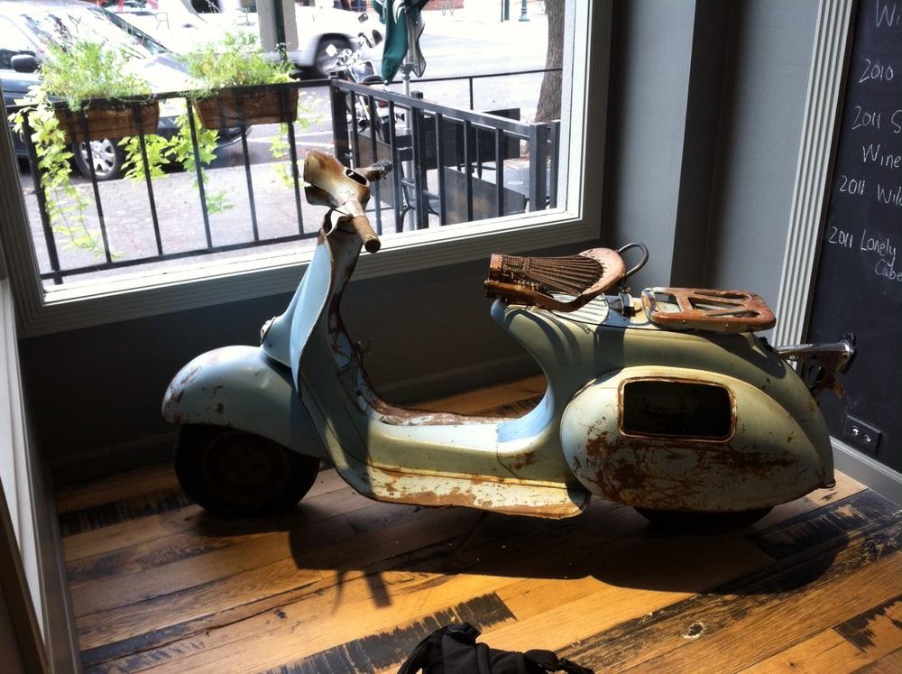 Mark Ryan's vintage scooter. Photo by Shana Sokol, Shana Speaks Wine.