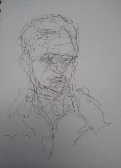 Self portrait, line drawing, A5, July 2013