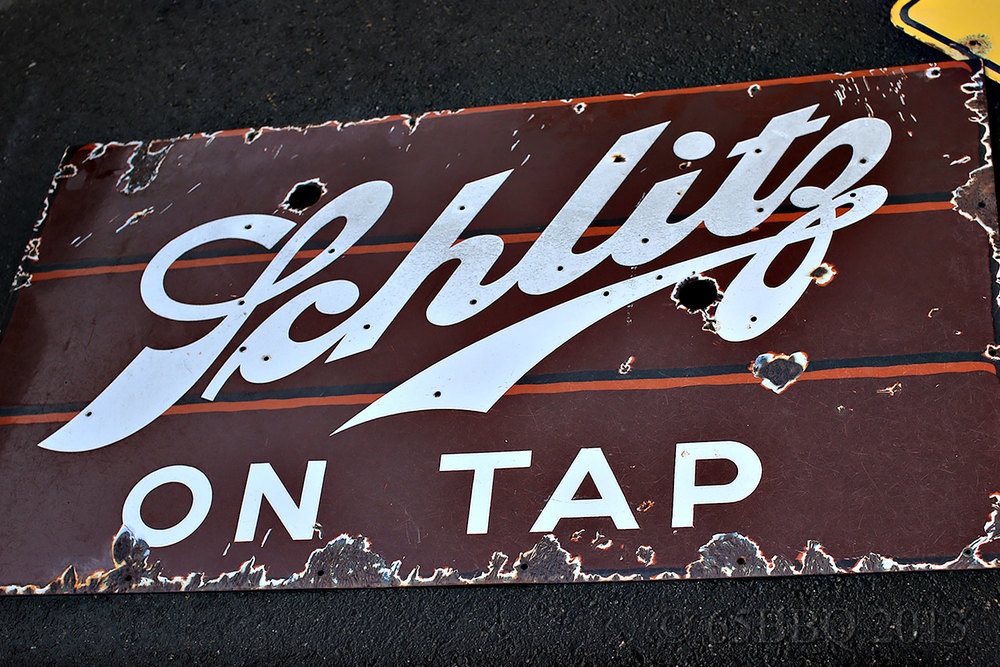 Pomona Swap Meet Schiltz Tin Sign