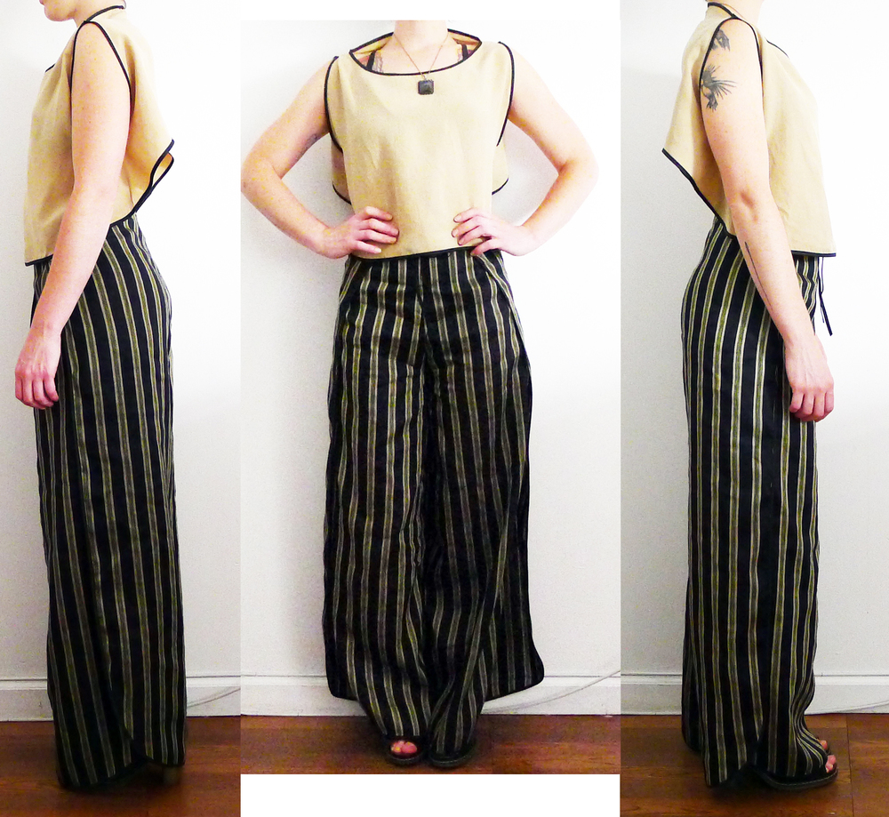 July 01, 2013 Ensemble on body.  Silk Wrap Pants and Rayon Reverse Crop Top