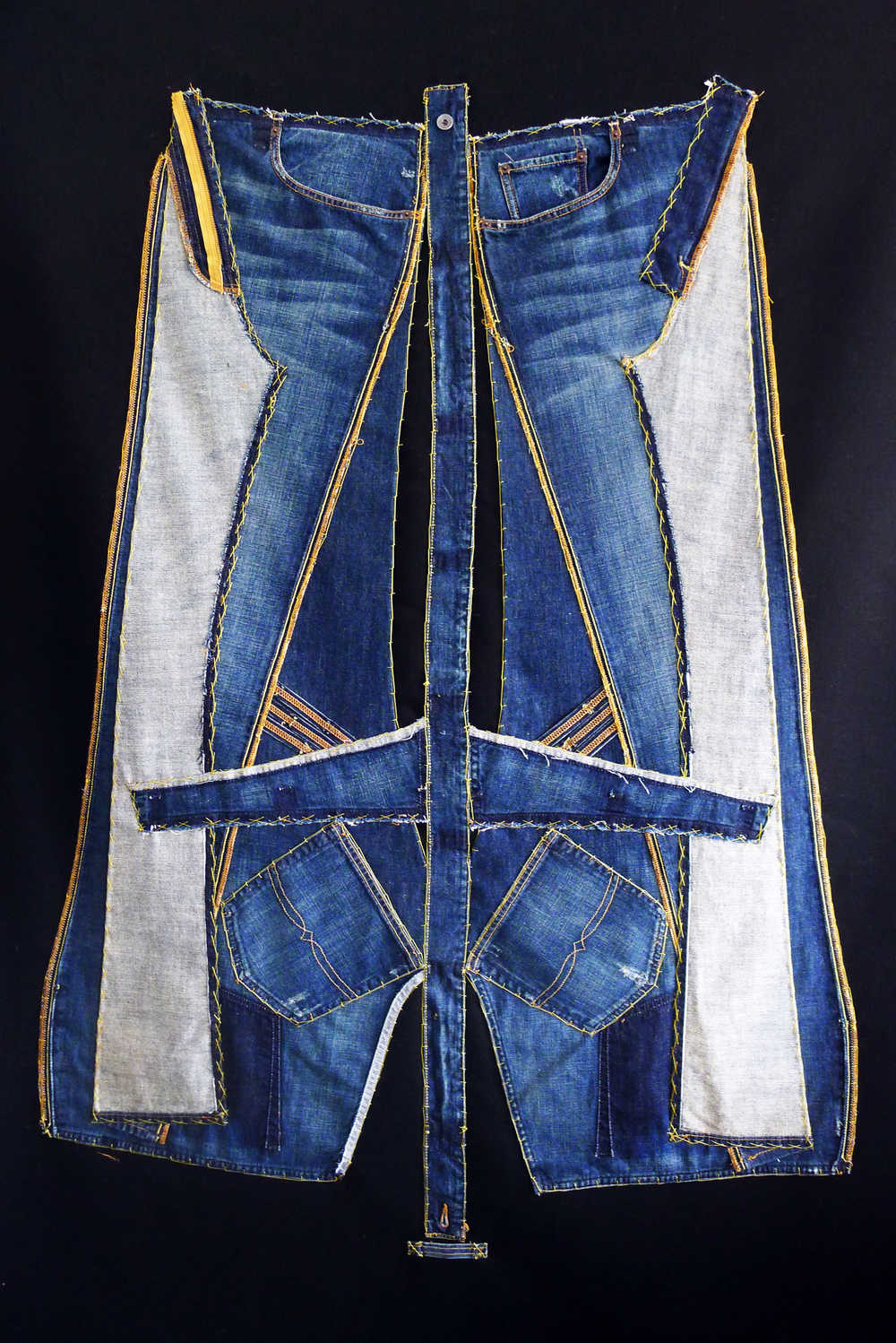 Blue and Gold - deconstructed jeans tapestry.