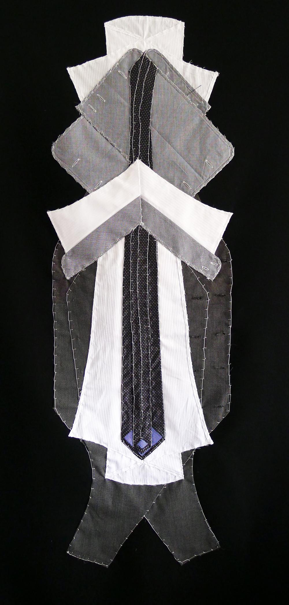 Chaplin - deconstructed tie, vest, shirt tapestry