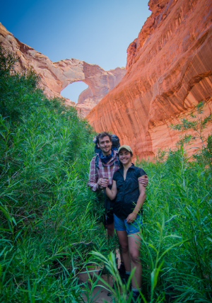 Will and me bush whacking at Steven's Arch.