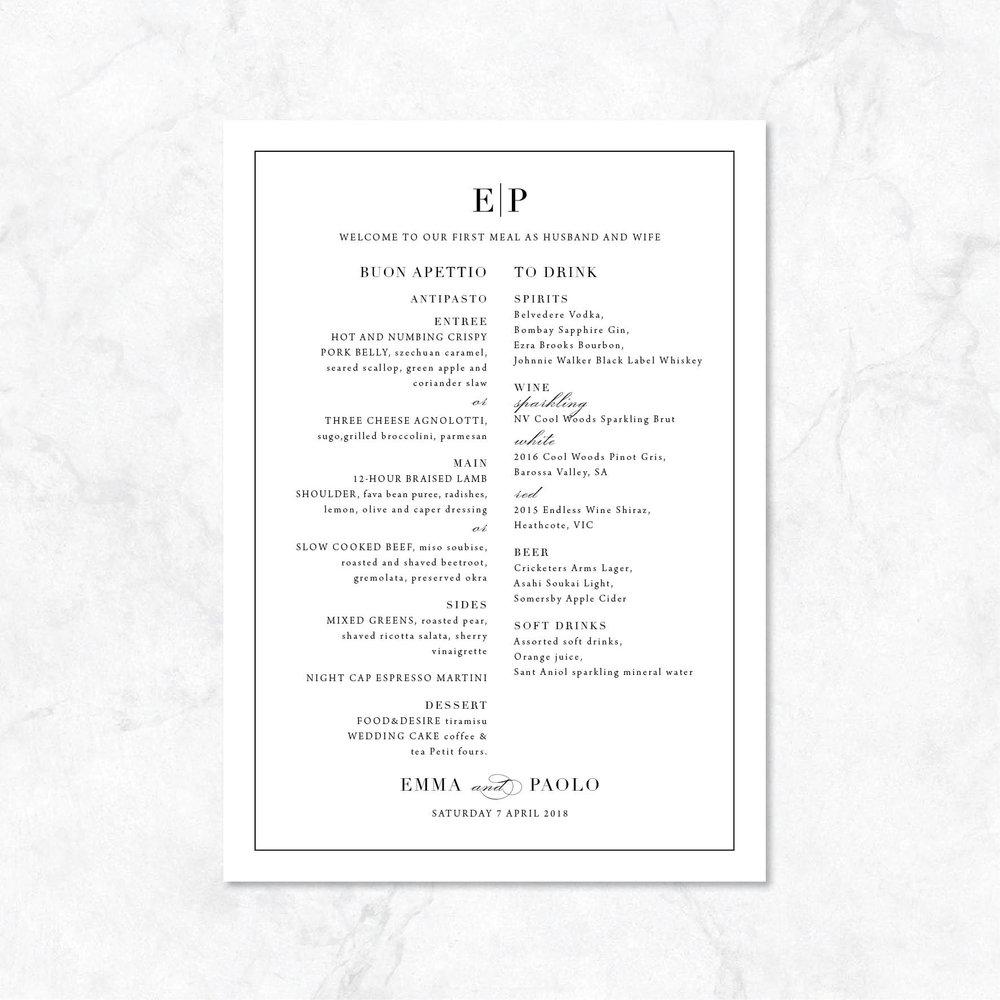 Classic monogram menu