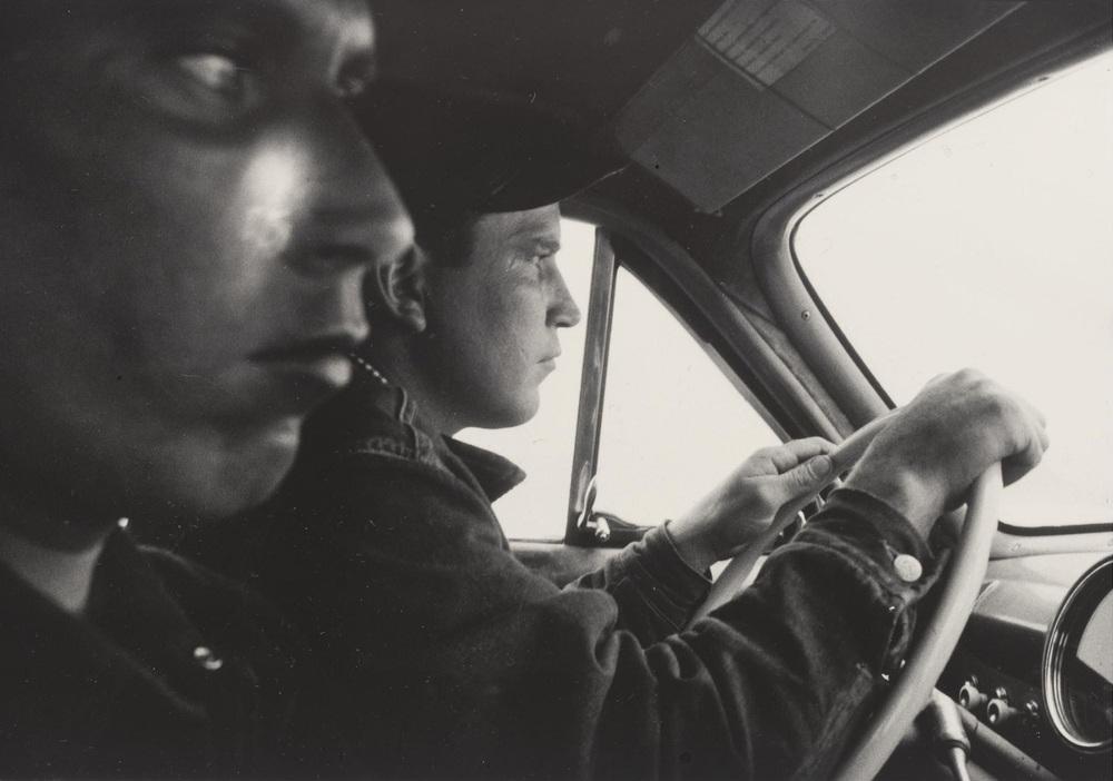Hitchhikers leaving Blackfoot, Idaho towards Butte, Montana,1956