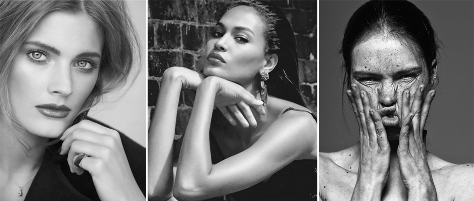 Left to right: Constance Jablonski by Alex Cayley, Joan Smalls by Sean & Seng, Unknown model by Billy Kidd