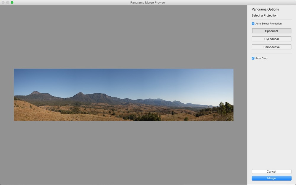 Lightroom 6's Merge to Panorama preview and options dialog.