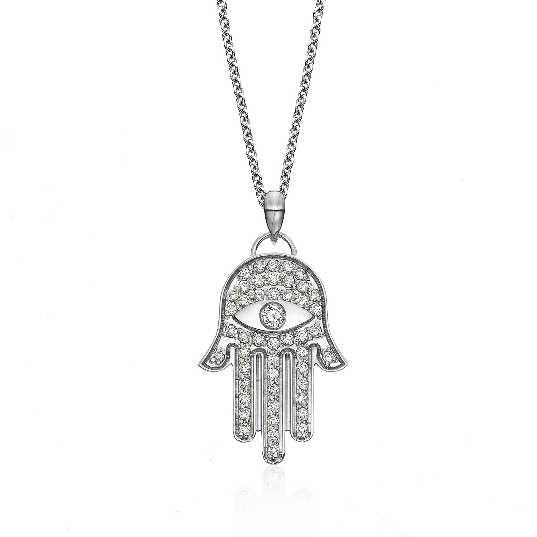 Hamsa diamond pendant izco hamsa diamond pendant mozeypictures Gallery